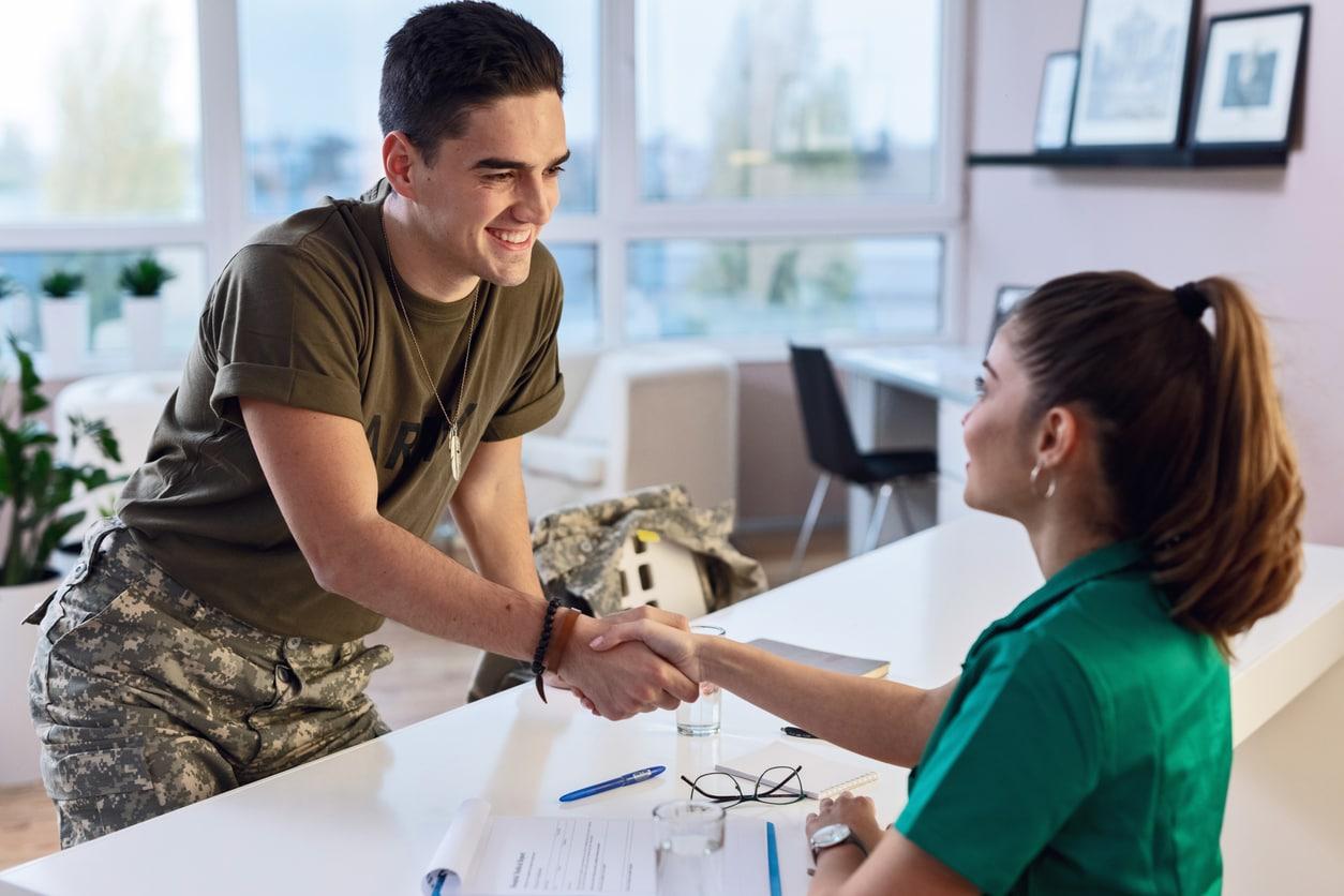 veteran greeting at workplace